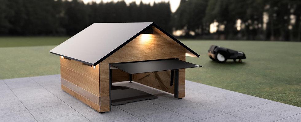 Mähroboter Garage Holz mit Tor für Automower