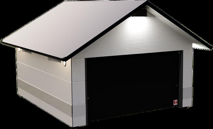 Die beste Mähroboter Garage für Automower und Gardena, mit Tor/Klappe, Solar LED und Schutzleisten. Wetterfest und aus Holz.