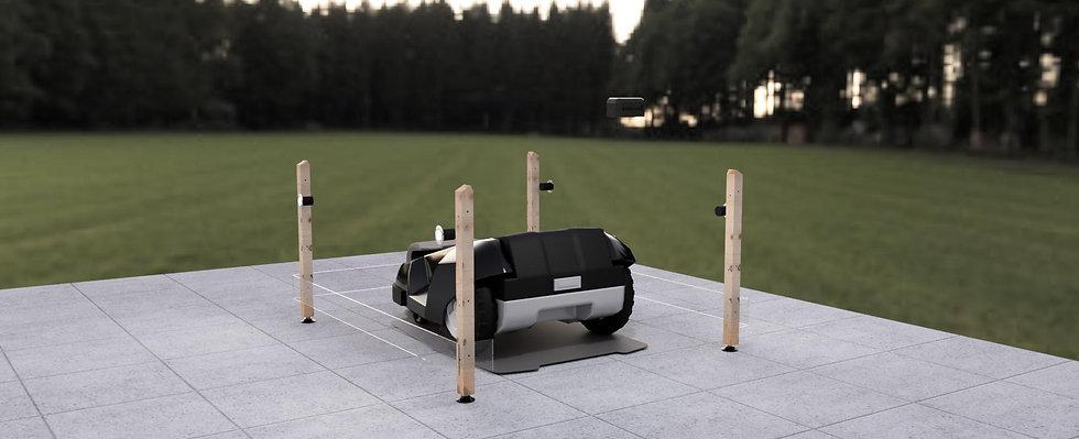 Rasenroboter Garage Holz mit Tor für Automower