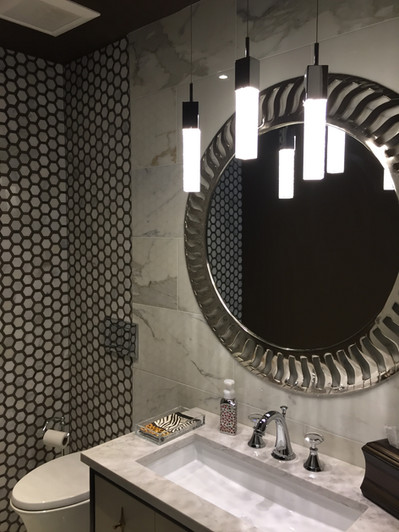 Marble statuary wall/ hex mosaic wrap