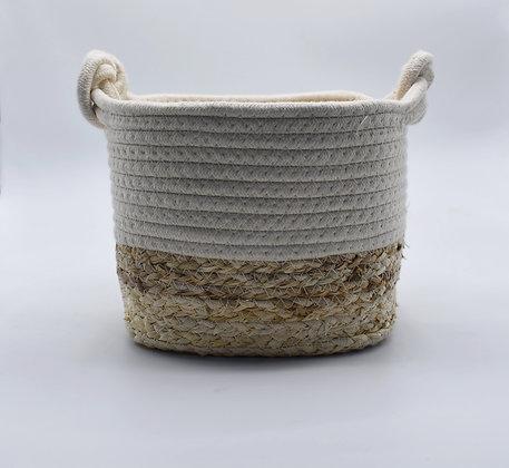 Cesta fibra algodón bicolor Blanco Natural
