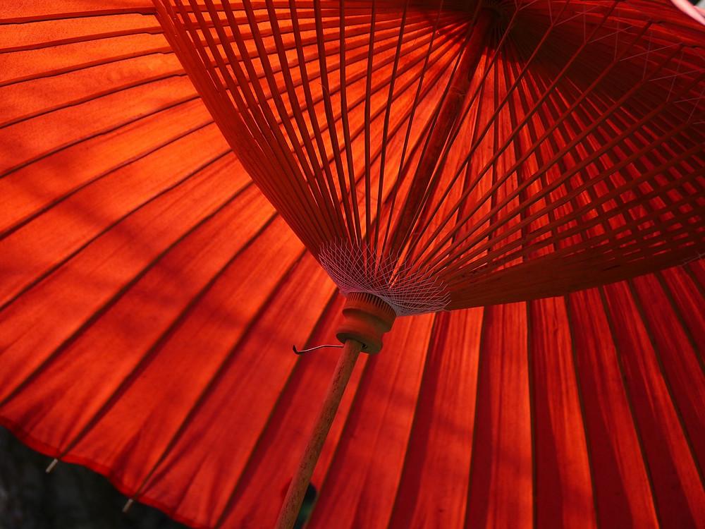 rød, kinesisk parasoll