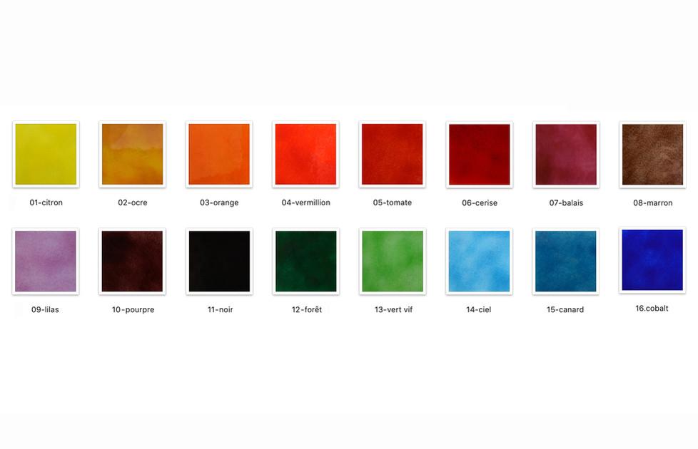Palette de couleur, texture lisse.