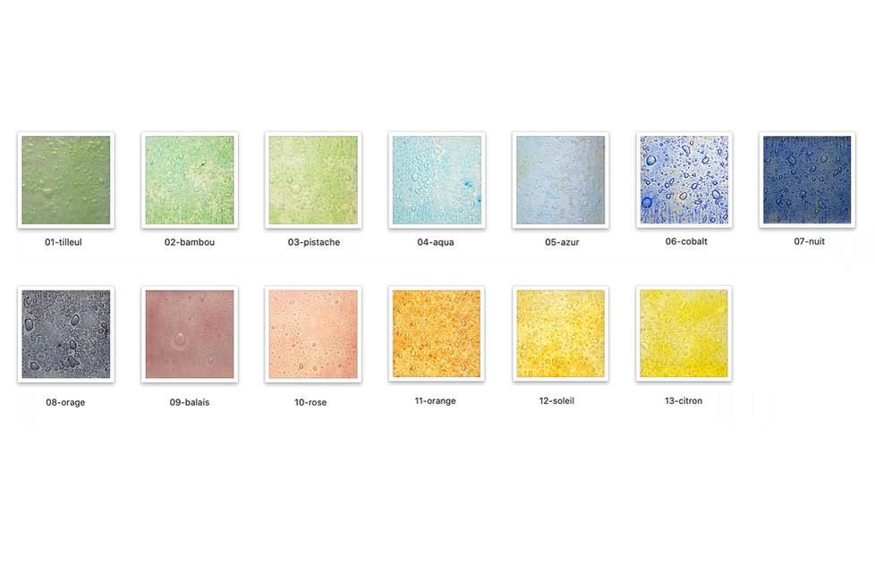 Palette de couleurs, texture à bulles.
