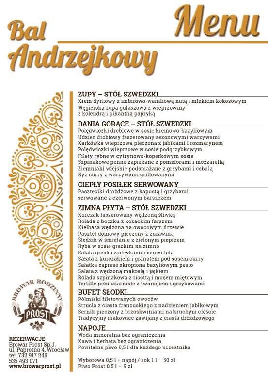 Poznaj wyśmienite menu na zabawę andrzejkową w Browarze PROST!