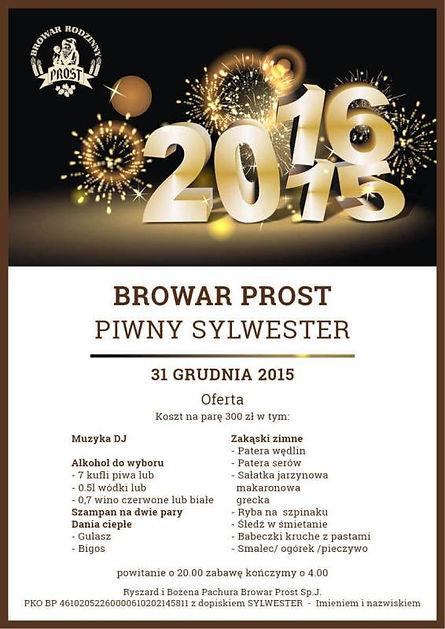 Menu na piwny sylwester, który odbędzie się w Browarze Prost we Wrocławiu. Będzie dostępny DJ, alkohol, ciepłe danie oraz zimne zakąski.