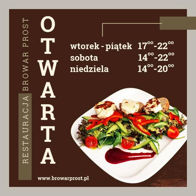 Nowe godziny otwarcia restauracji Browar PROST.