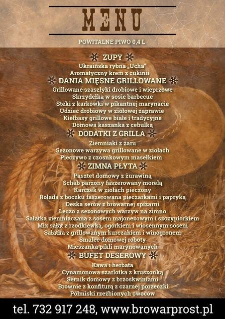 Poczuj dziki zachód w Browarze Prost i spróbuj pyszne menu przygotowane na tę okazję, skontaktuj się z nami oraz zarezerwuj już dzisiaj miejsca.
