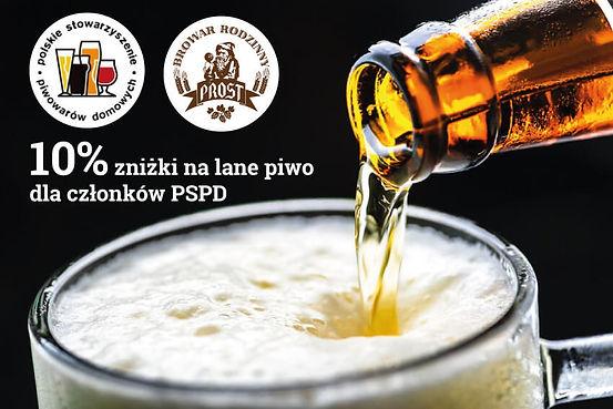 Członkowie Polskiego Stowarzyszenia Piwowarów Domowych otrzymują 10% zniżki na lane piwo!