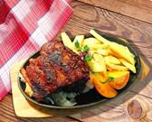 Żeberka wieprowe w sosie BBQ i z frytkami