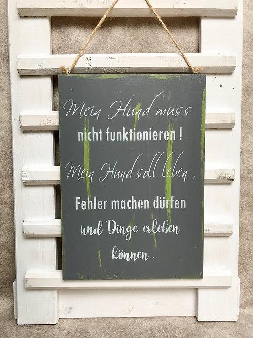 """Vintage Holzschilder """"Mein Hund muss..."""""""