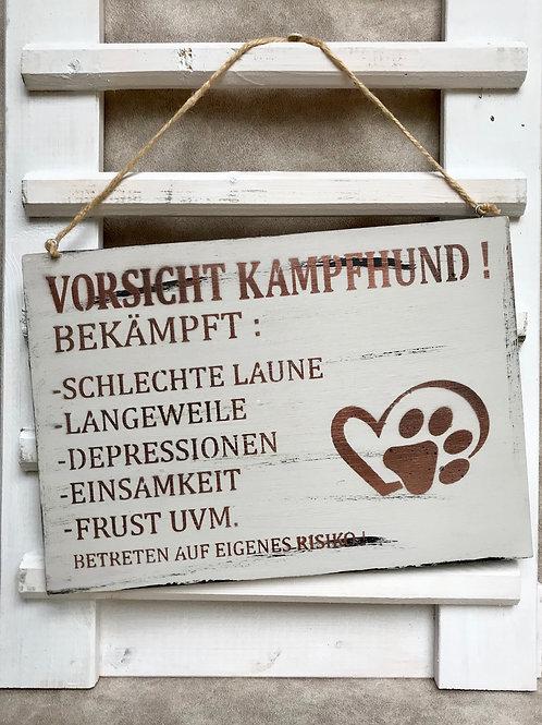 """Vintage Holzschilder """"Achtung Kampfhund..."""""""