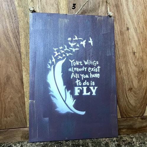 """Vintage Holzschild """"Fly..."""""""