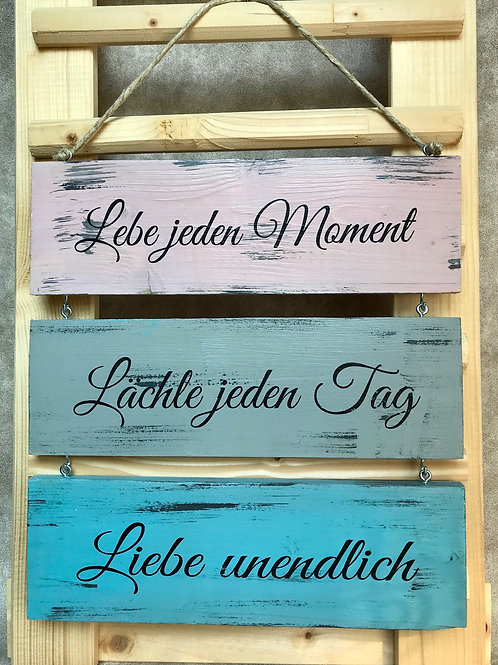 "Vintage 3er Holzschilder ""Lebe jeden..."""