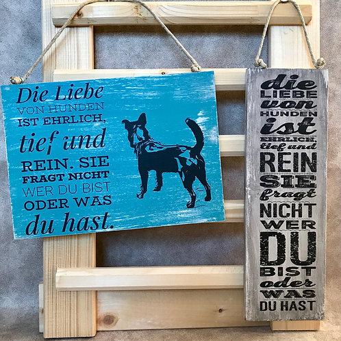 """Vintage Holzschilder """"Die Liebe von Hunden..."""""""