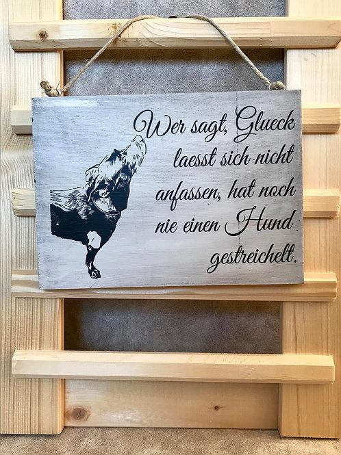 """Vintage Holzschilder """"Wer sagt Glück..."""""""