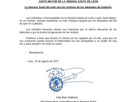 La Semana Santa de León con las víctimas de los atentados de Cataluña