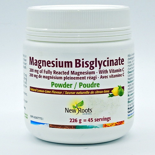 New Roots Magnesium Bisglycinate Lemon Lime 226g