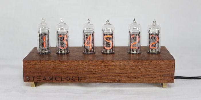IN14 Nixie Clock, Mahogany & Brass, WiFi Interface