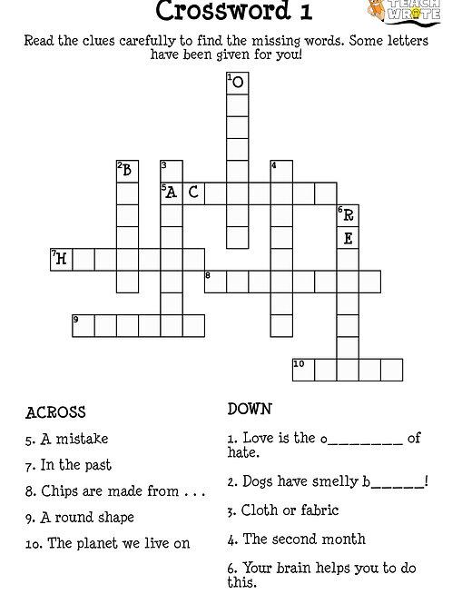 Year 3/4 Spelling Crosswords