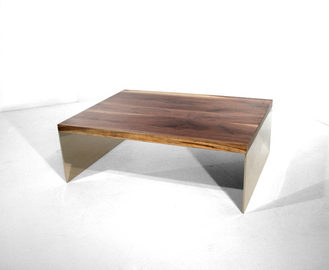 #337. LOW TABLE, walnut, mirrored stainl