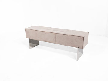 #506. BENCH, skin, mirrored stainless st