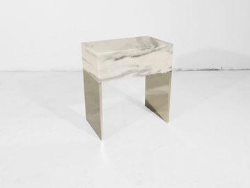 #545. SIDE TABLE, marble, mirrored steel