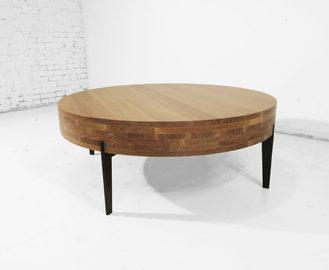 #547. LOW TABLE, oak, blackened steel