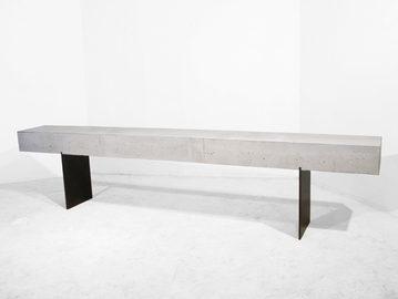 #439. CONSOLE, concrete, blackened steel
