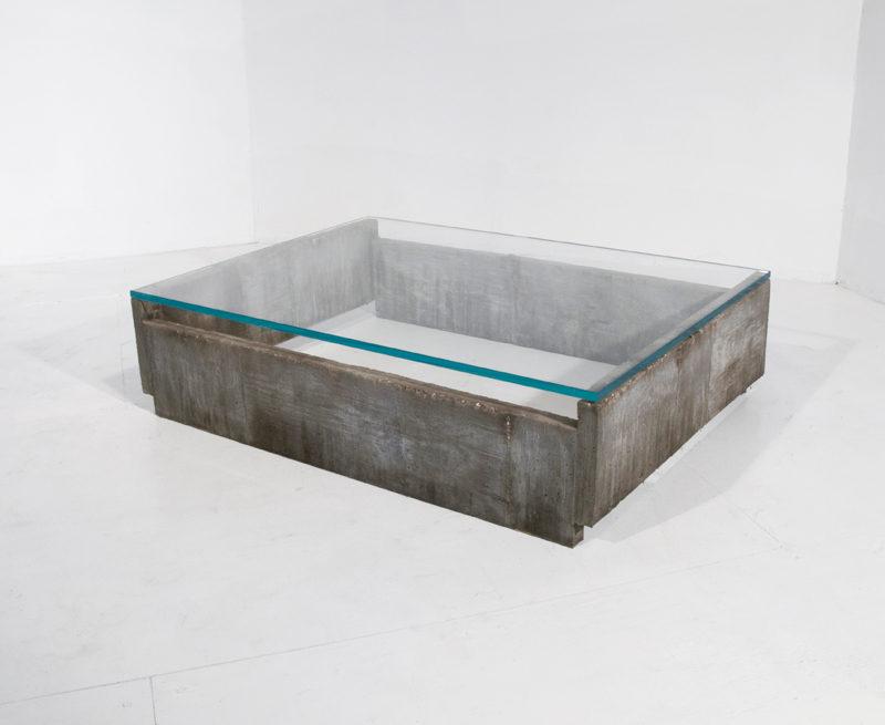 #312. LOW TABLE, concrete, glass