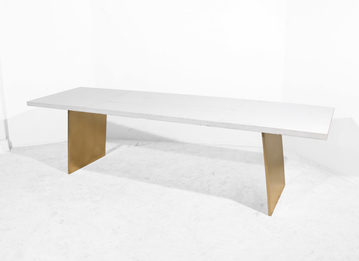 #464. TABLE, concrete, brushed bronze