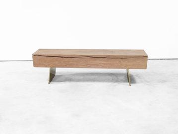 #647. BENCH, wood, bronze