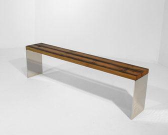 #103. BENCH, cedar, mirrored stainless s