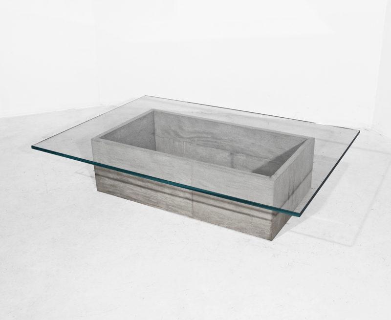 #210. LOW TABLE, concrete, glass