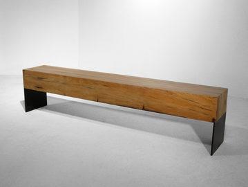 #108. BENCH, cypress, blackened steel