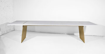 #515. TABLE, concrete, brushed bronze