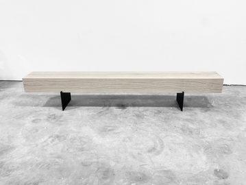 #706. BENCH, washed oak, blackened steel
