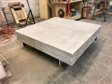 #583. LOW TABLE, concrete, mirrored stee