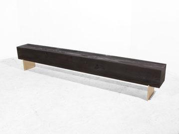 #475. BENCH, textured wood, bronze