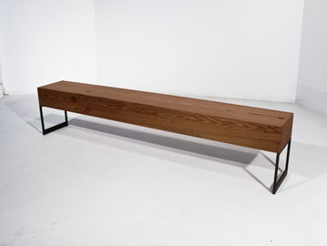 #127. BENCH, wood, blackened steel