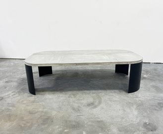 #711. LOW RADIUS TABLE, concrete, blackened steel