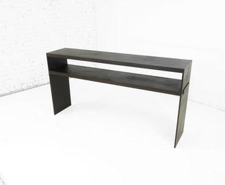 #570. CONSOLE w shelf, blackened steel
