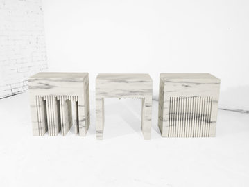 #541-43. SIDE TABLES, marble