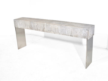 #363. CONSOLE, concrete, brushed stainle