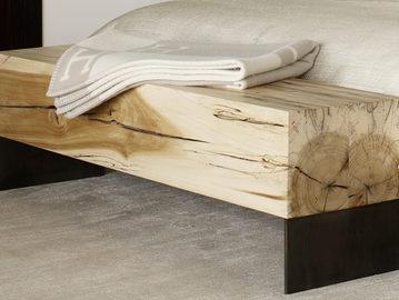 #201. BENCH, wood, blackened steel