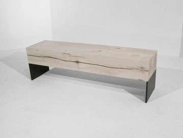 #183. BENCH, washed wood, blackened stee