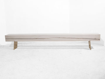 #465. BENCH, washed wood, bronze