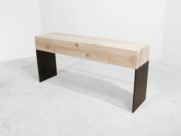 #387. CONSOLE w drawers, washed wood, blackened steel
