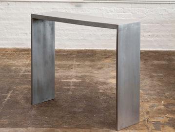 #276. CONSOLE, mirrored cast aluminum