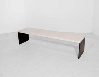 #35. BENCH, wood, blackened steel